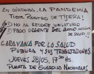 Cartel en el hospital San Antonio de Padua de Río Cuarto, convocando a una asamblea previo a la movilización de hoy.